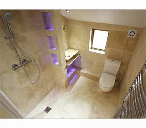 Enclosed wet room en suite stone chrome for Wet floor bathroom designs