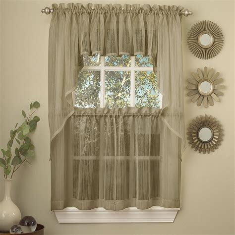 harmony mocha micro stripe semi sheer kitchen curtains
