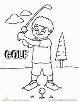 Coloring Golfer Worksheet Golf Sports Sledding Education sketch template