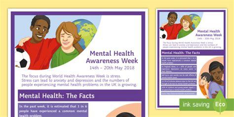 Mental Health Statistics A4 Display Poster  Awareness Day