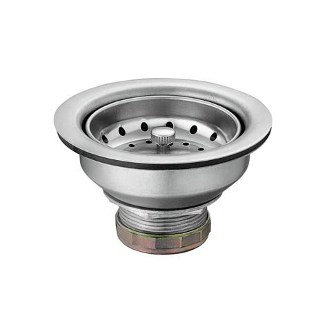 moen 22036 stainless stainless steel 3 1 2 quot basket strainer with drain assembly faucetdirect