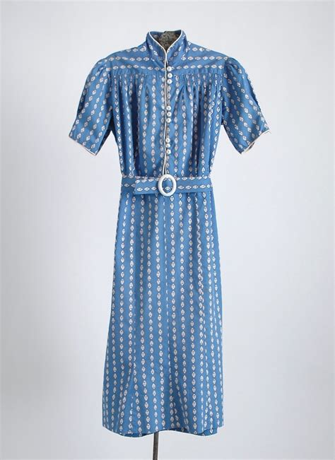 Cotton Dress Baby Blue 1930s blue white cotton dress hemlock vintage clothing