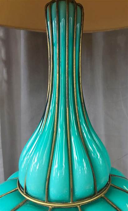 Glass Lamp Table Turquoise Colored Murano Marbro