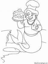 Merman Coloring Cake Pages sketch template