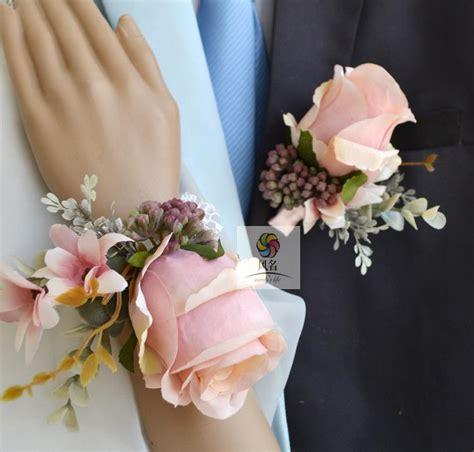 baby pink artificial wedding best groom boutonniere bridal wrist corsage