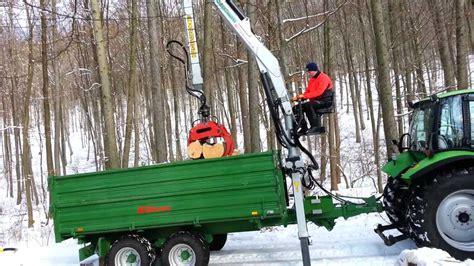 rückewagen mit kran brennholz laden mit engel dreiseitenkipper und 6 50m
