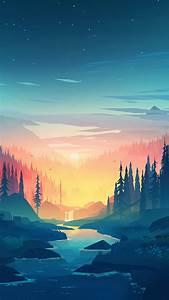 wallpaper forest sunset artwork 4k 20035