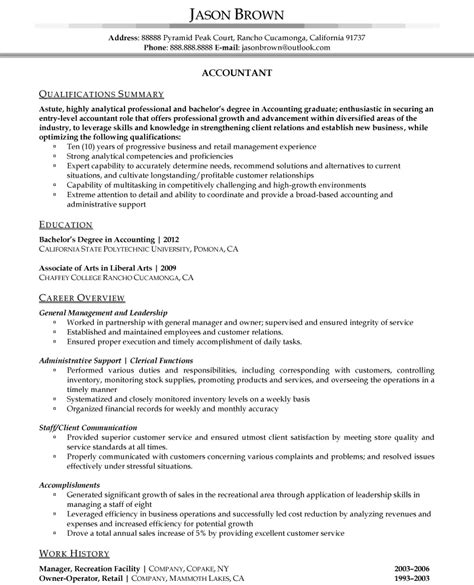 resume summary for entry level sales positions accountant l picture accounting resume sles