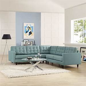 Modway empress 3 piece fabric sectional sofa set in laguna for Empress 3 piece fabric sectional sofa set