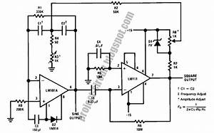 electronics technology tuned sine wave oscillator circuit With op amp pin diagram