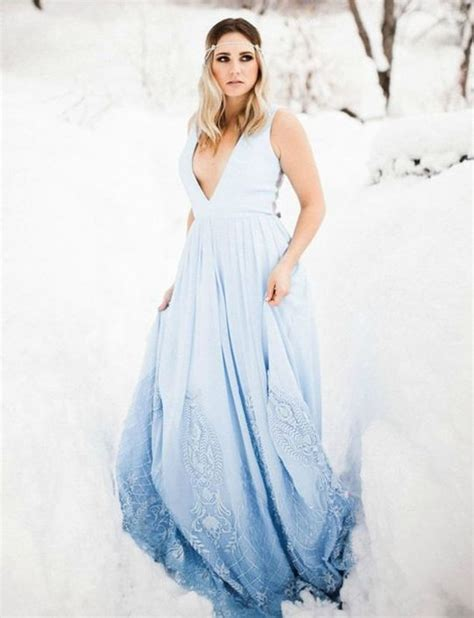 picture of a sleeveless plunging neckline ombre blue