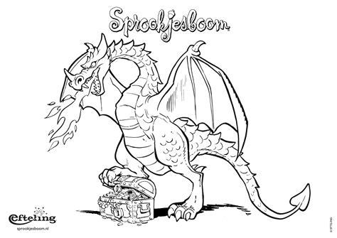 Kleurplaten Draken by Sprookjesboom Kleurplaat Draak Met Schatkist Kleurplaten