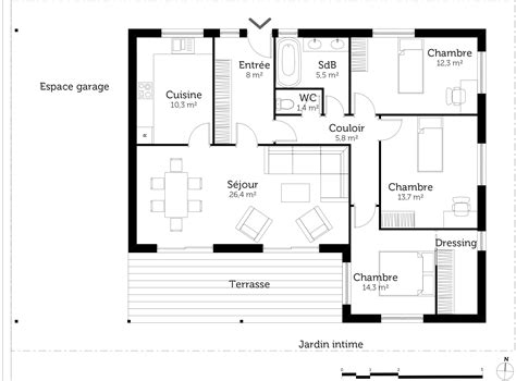 plan de maison plein pied gratuit 3 chambres plan maison plain pied avec 3 chambres ooreka
