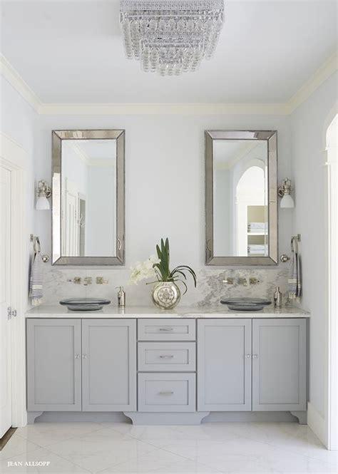 fabulous gray bathroom features  gray dual vanity adorned
