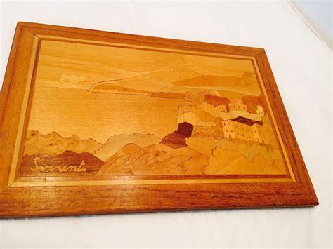wood inlay marquetry plaque sorrentoitaly scene