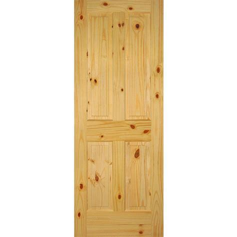 home depot solid wood interior doors builder 39 s choice 32 in x 80 in 4 panel solid knotty