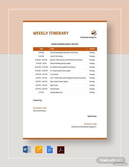 10+ Family Itinerary Templates - Google Docs, MS Word ...