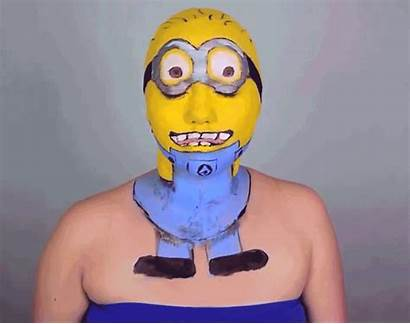 Makeup Minion Gifs Creepy Transformation Face Gaga