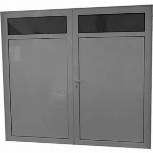 porte de garage aluminium isole 2 vantaux standard h 2 With porte de garage standard
