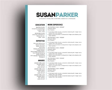 Page Layout For Resume by Bold Modern Resume Template By Inkpower On Creative Market
