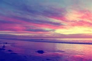 Night Sky Pink Purple Sunset Ocean South Carlsbad Beach