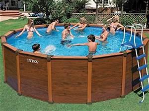 Piscine Bois Ronde : kit piscine hors sol acier intex sequoia spirit ronde aspect bois x sur ~ Farleysfitness.com Idées de Décoration