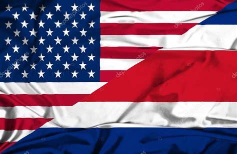 Fotos de Bandera ondeante de Costa Rica y Estados Unidos ...