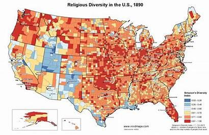 Diversity States United Religious 1890 Maps Religion