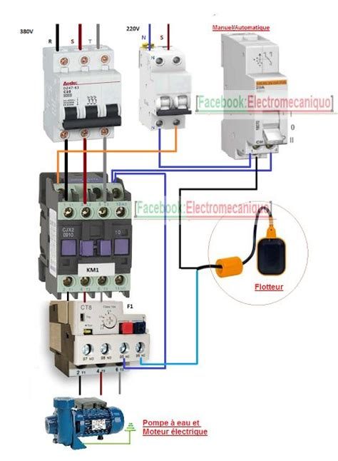 schema de cablage dun moteur electrique  une pompe