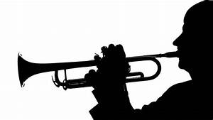 Close Up In The Silhouette Of Trumpet Playing Pipe Stock ...