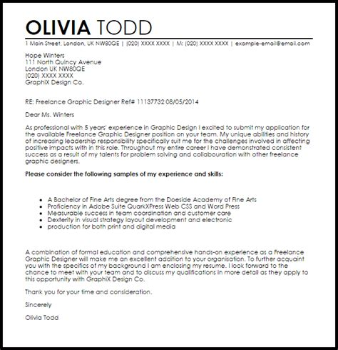 Cover Letter For Designer by Graphic Design Cover Letter Sle Template Business