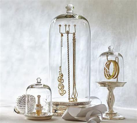 glass cloche jewelry storage pottery barn