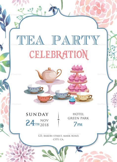 elegant tea party invitation design template  word psd