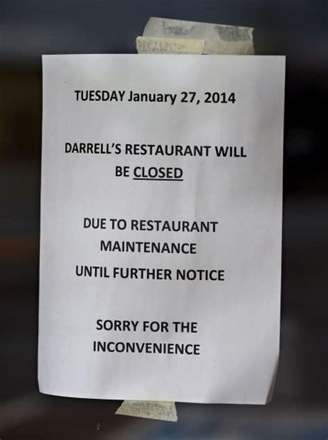 6 sewer pipe closing for darrell s restaurant local