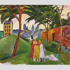 Landschaft Mit Drei Mädchen  August Macke Als Kunstdruck
