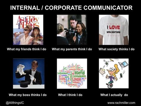 Communication Meme - what people think the internal corporate communicator does vs reality very true wurd