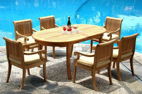 pc teak dining set garden outdoor patio furniture