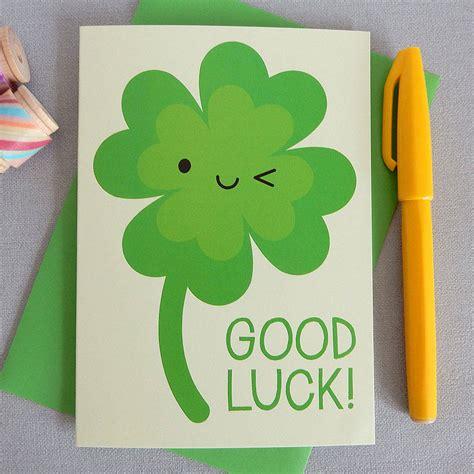Kawaii Lucky Four Leaf Clover 'good Luck' Card By Asking