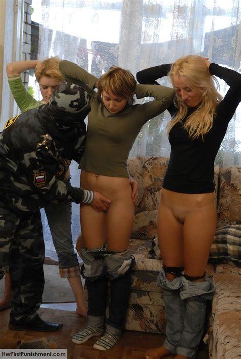 Superb Teen Babes Spanked Hard In Military XXX Dessert