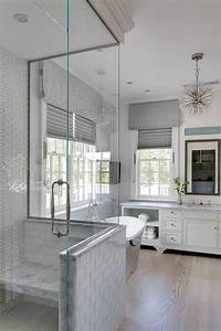 Transitional, Bathroom, Designed, With, A, White, Glass, Tiled