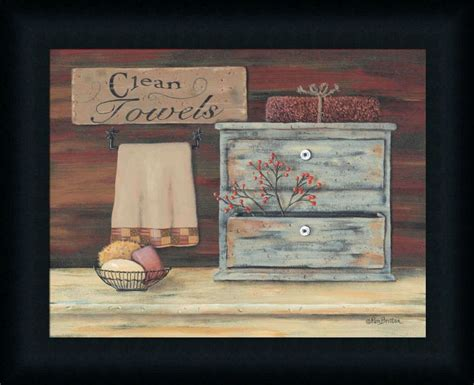 primitive bathroom wall decor clean towels primitive rustic bath room framed print