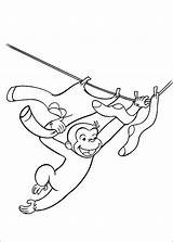 Coloring Curious George Pages Clothesline sketch template