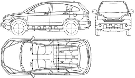 honda cr  suv blueprints  outlines