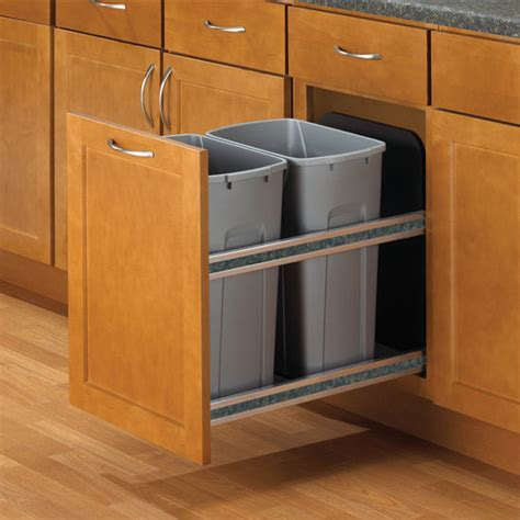 double garbage can cabinet hafele double bottom mount soft close built in waste bin