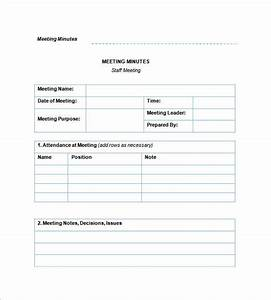 staff meeting minutes templates 12 free sample example With weekly meeting minutes template