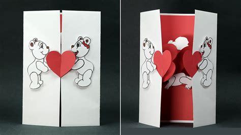 handmade valentine diy card kissing couple pop  card