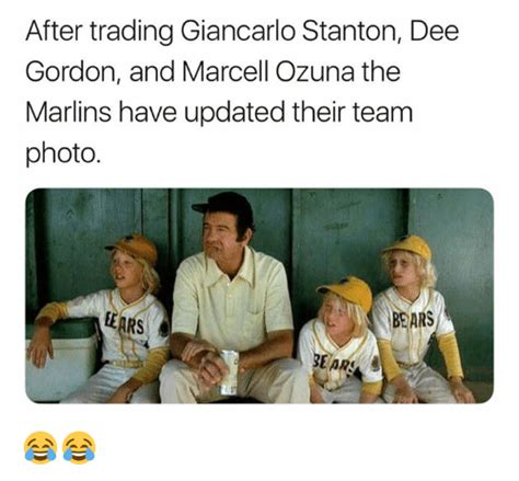 Dee Gordon Meme - after trading giancarlo stanton dee gordon and marcell ozuna the marlins have updated their team