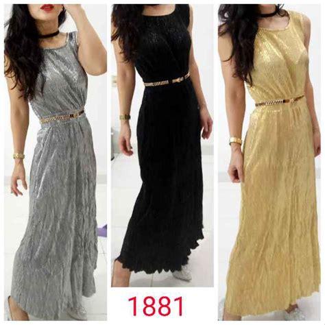 jual dress maxi silver hitam gold premium longdress