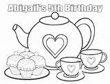 Tea Coloring Party Pages Boston Printable Birthday Pajama 5th Personalized Activity Favor Template Getcolorings Childrens Col Favors  sketch template