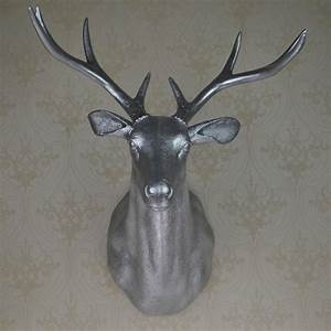 Full size wall mounted buck bust silver deer head trophy